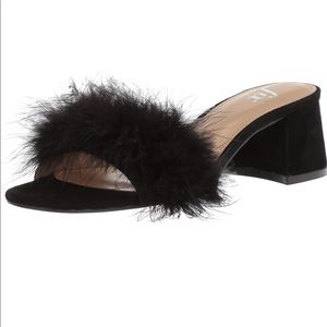 Black slip on block heel